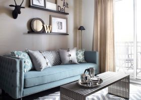 Blue and Gray Carpet Living Room Furniture