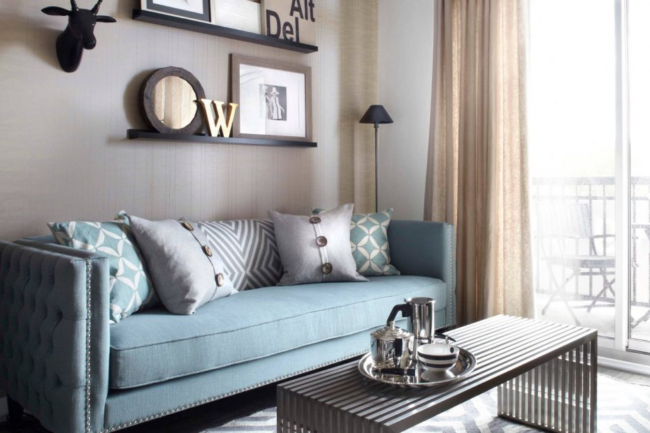 Duck Egg Sofa With Soft Grey Carpet And Linen Sheers Sofas