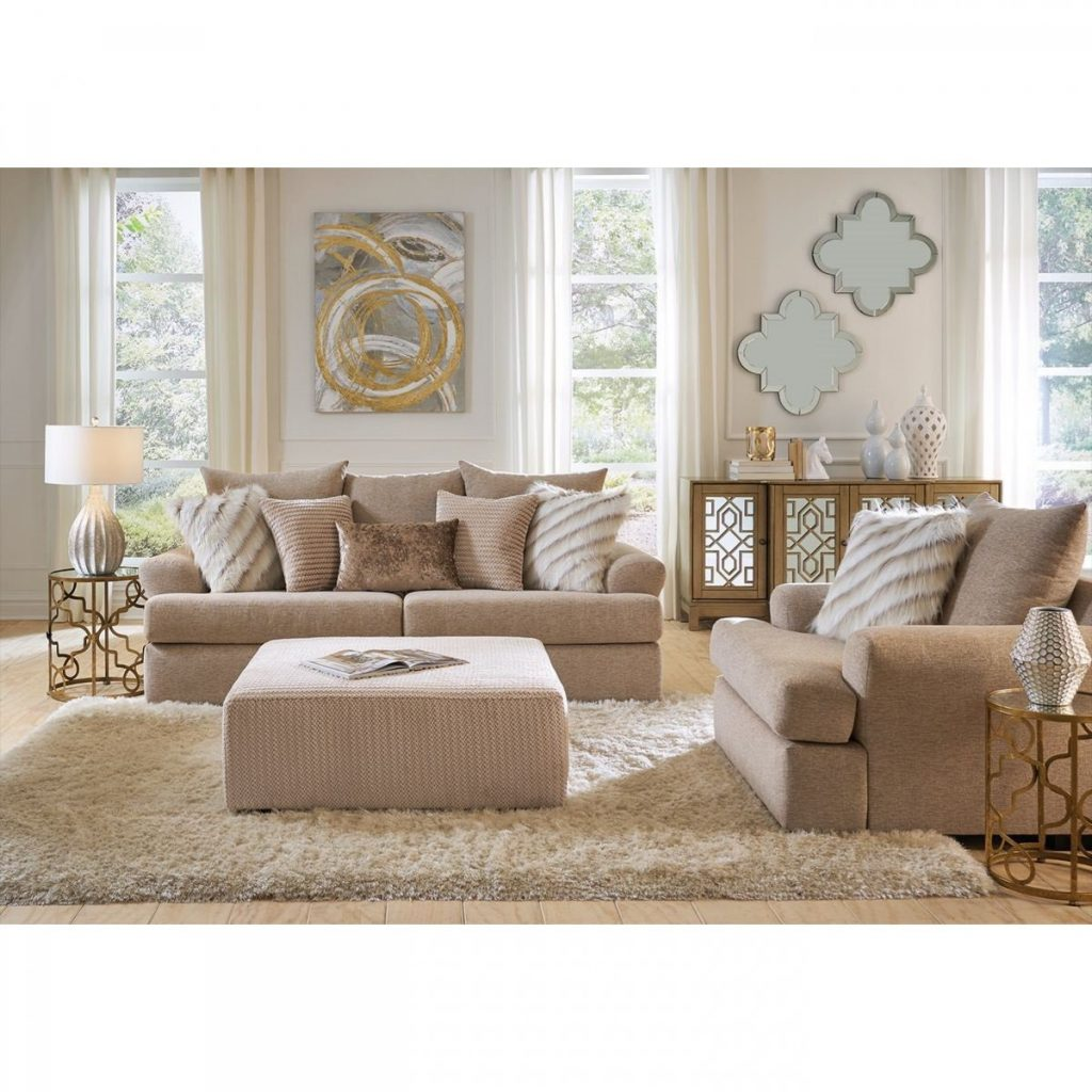 Ellery Beige Sofa Loveseat Badcock More
