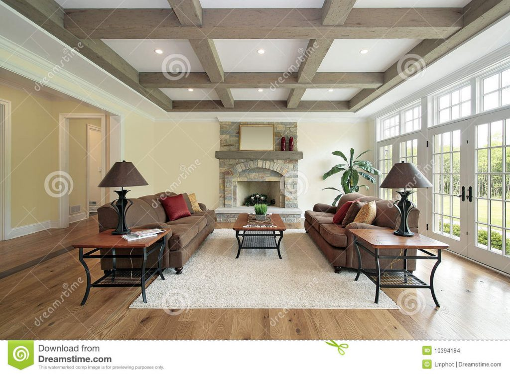 Family Room With Wood Ceiling Beams Stock Photo Image Of Furniture