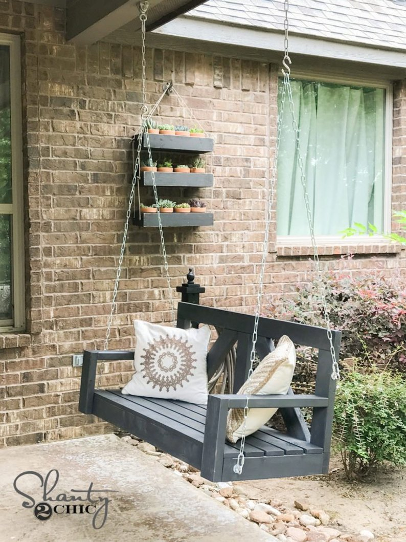 Farmhouse Front Porch Swing Etsy