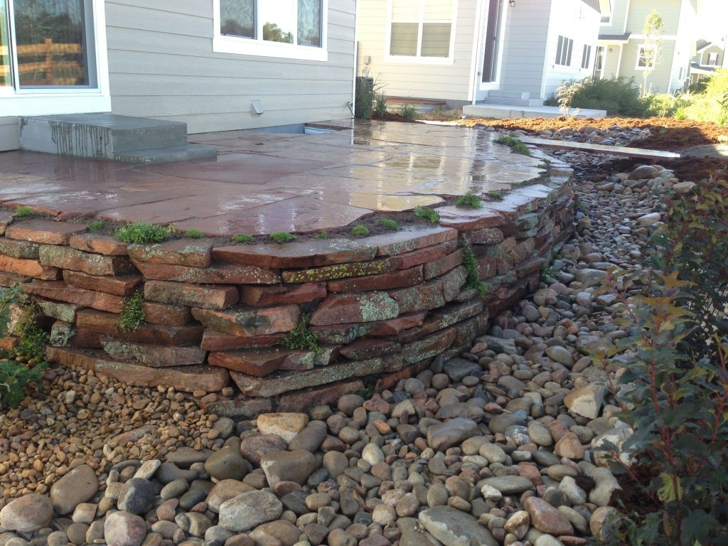 Flagstone Patio Dry Stack Moss Rock Wall And Stone Bridge Installed