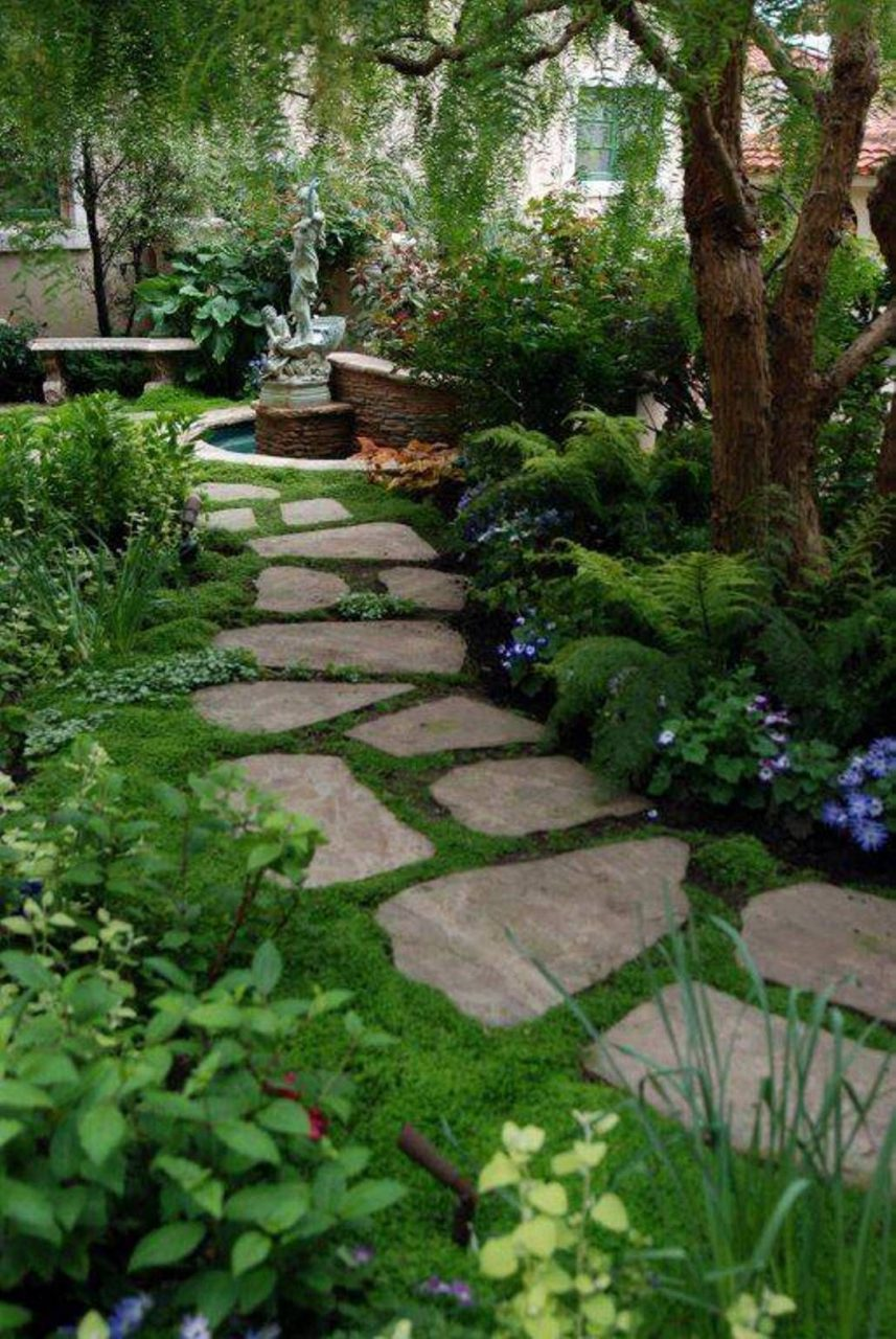 Flagstone Stepping Stones With Moss Garden And Lawn Beautiful