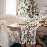 French Country Farmhouse Christmas Dining Room Table Setting The