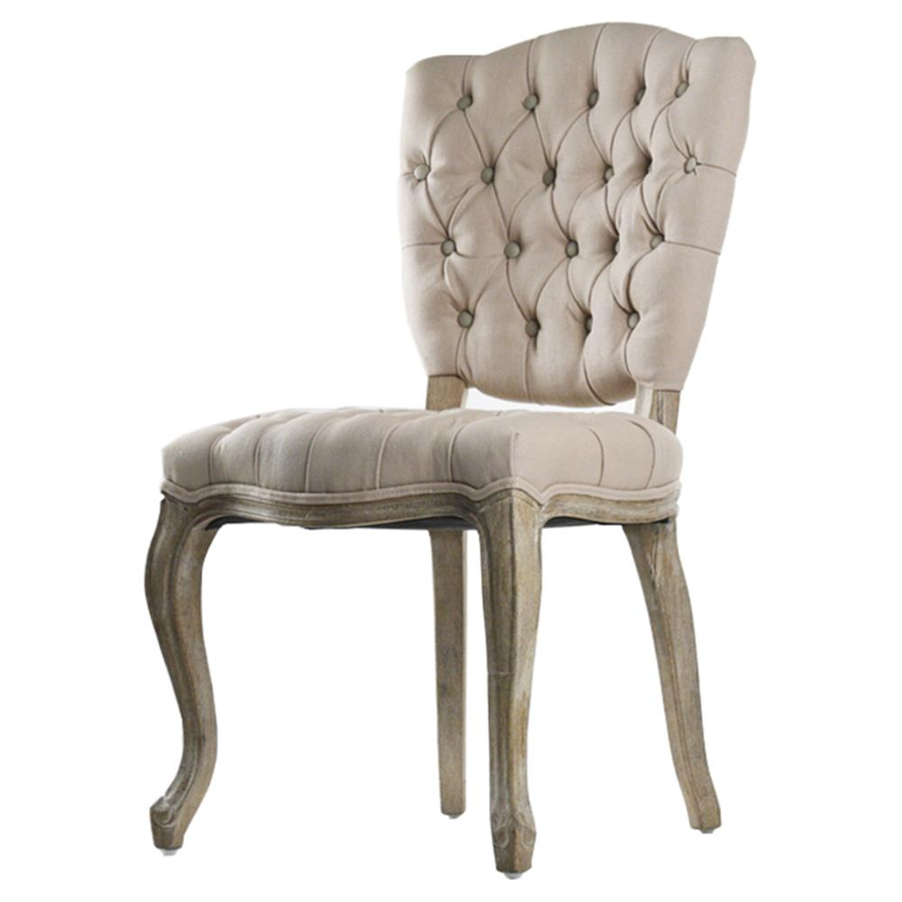 French Country Tufted Hemp Linen Piaf Dining Chair Kathy Set Of Two