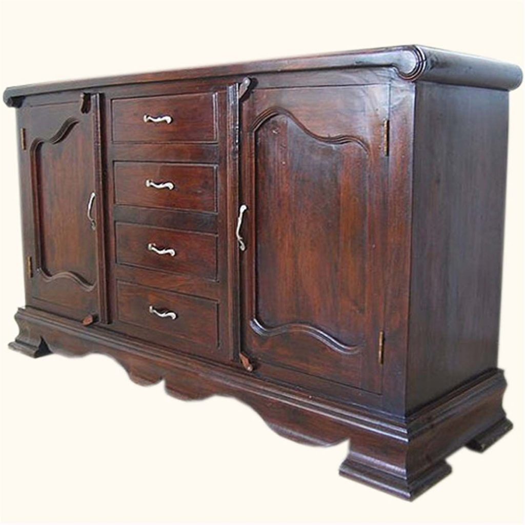 French Rustic Solid Wood 4 Drawer Large Sideboard Cabinet Dining