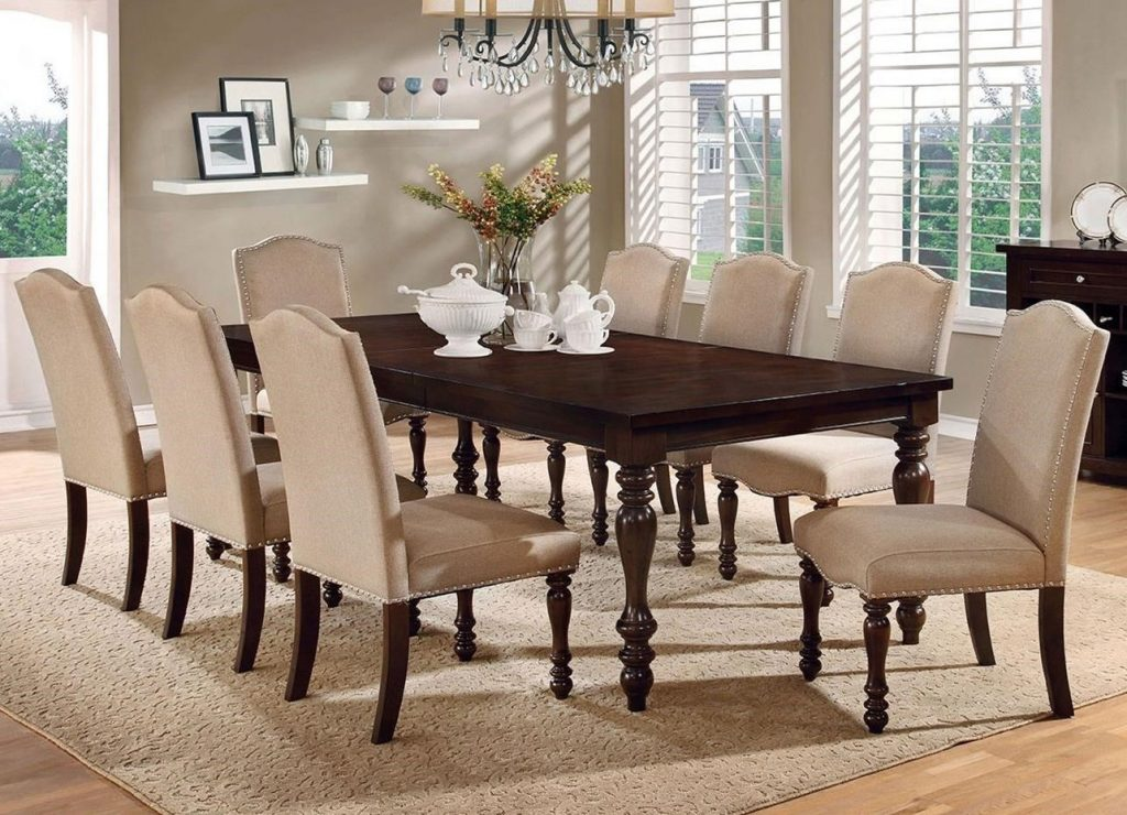 Furniture Of America Hurdsfield Transitional Dining Table With 8