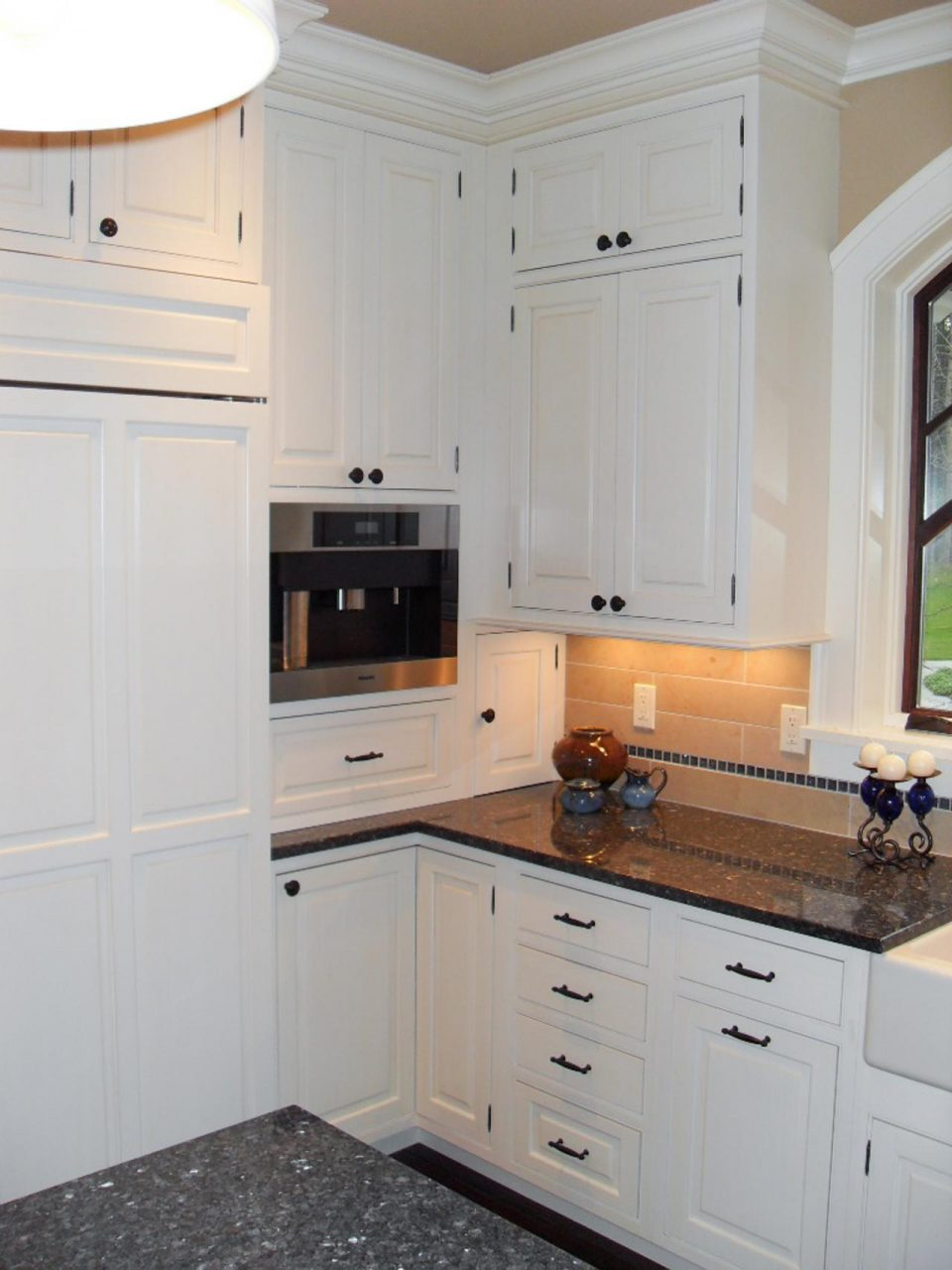 Furniture White Colonial Shaker Kitchen Cabinets And Black Granite