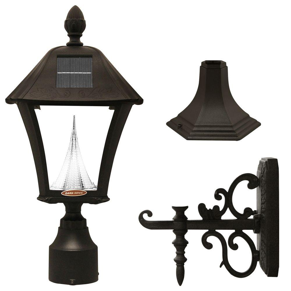 Gama Sonic Baytown Solar Black Outdoor Postwall Light With Bright