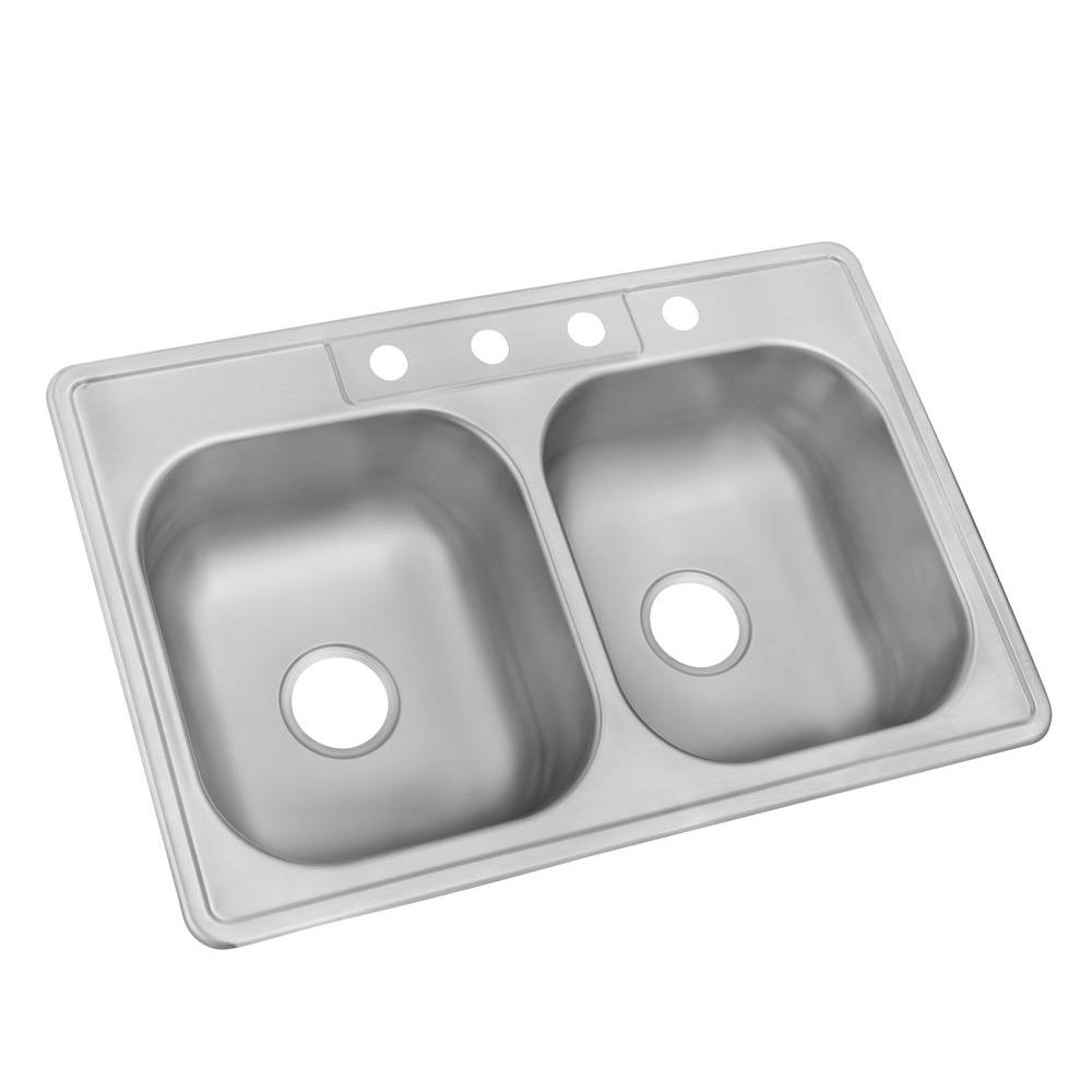 Glacier Bay Drop In Stainless Steel 33 In 4 Hole Double Bowl
