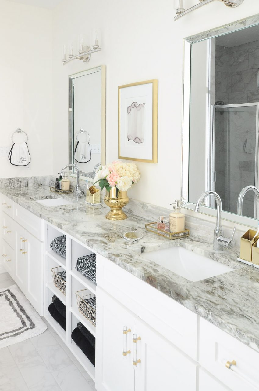 Glam Gold White Master Bathroom Refresh Monica Wants It