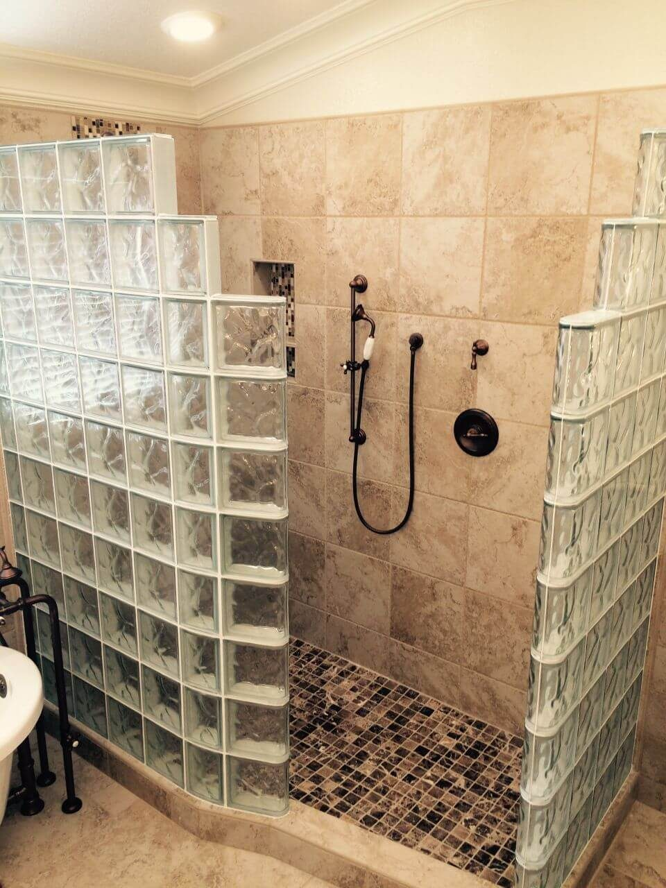 Glass Block Walls Provide Unique Walk In Shower Styling