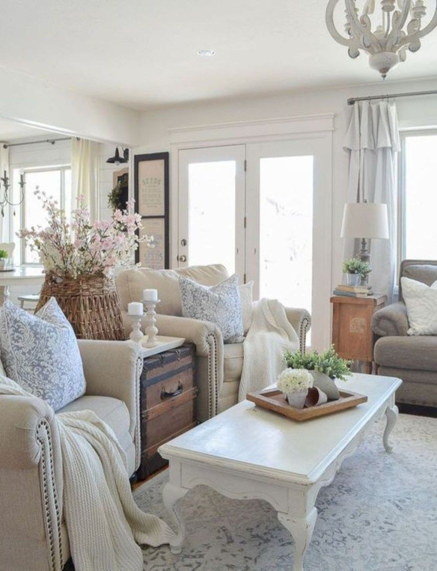 Gorgeous French Farmhouse Living Room Design Ideas 29 Farmhouse