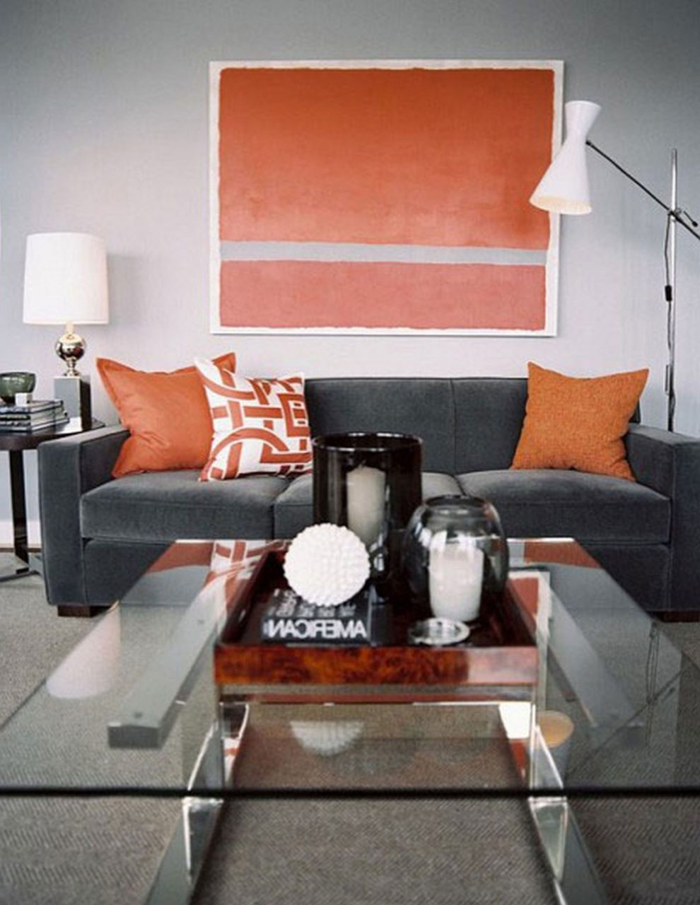 Grey And Orange Living Room Newsgr