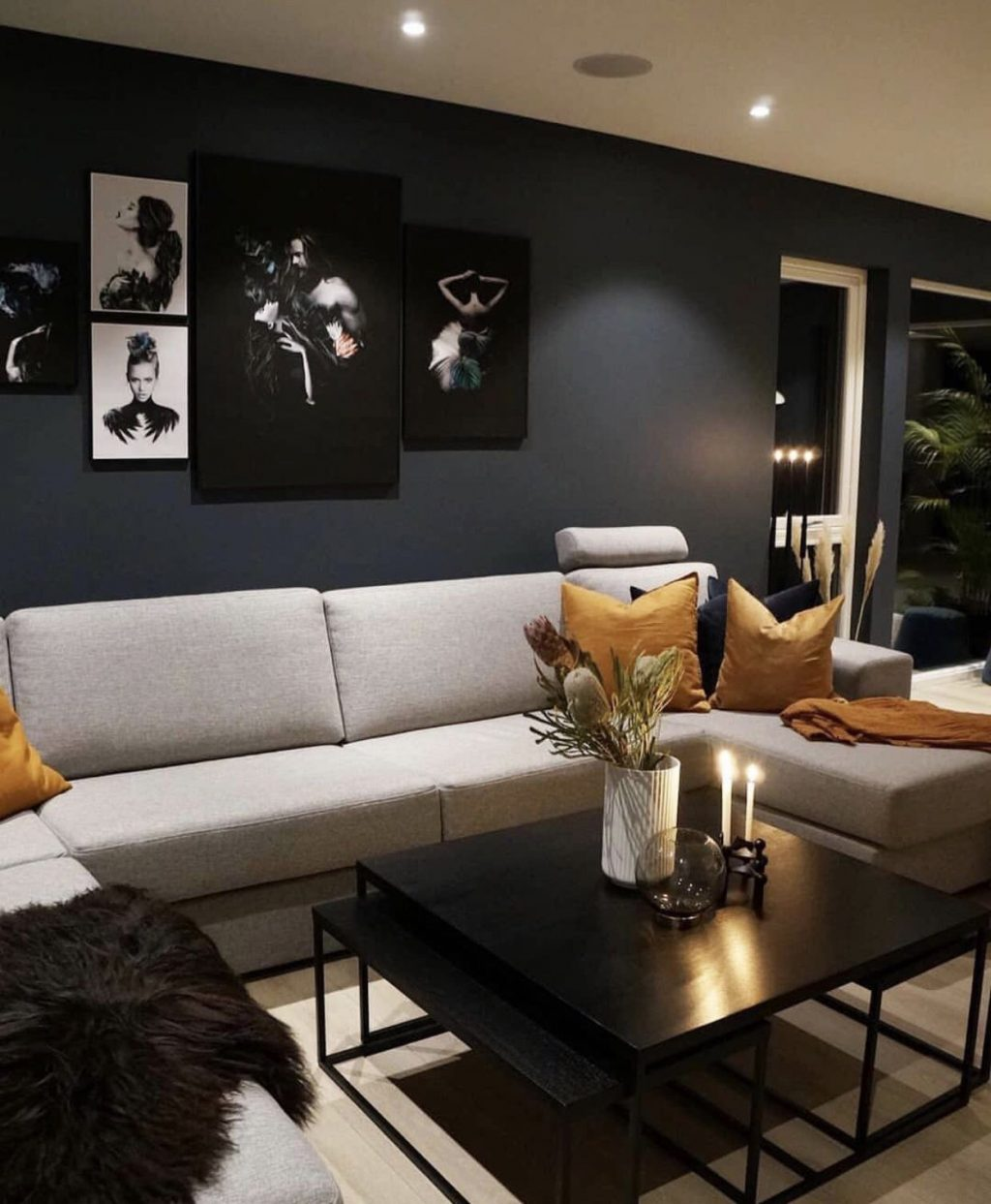 Grey Black And Orange Living Room Home Inspiration In 2019