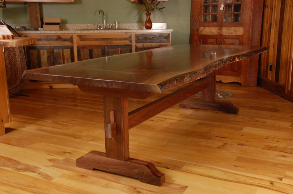 Hand Made Live Edge Walnut Slab Trestle Dining Table Corey Morgan