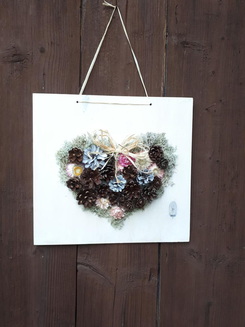 Heart Home Decor 3d Pinecones Heart Wall Decor Rustic Etsy