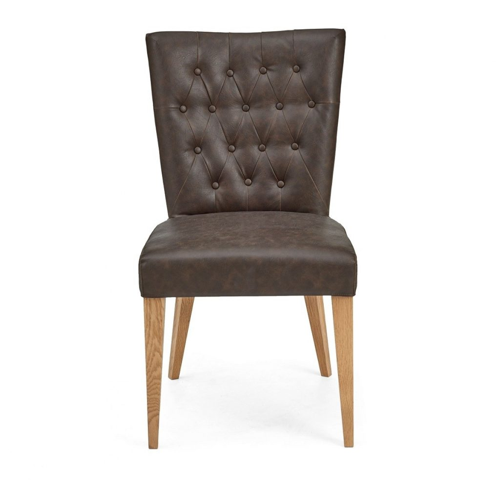 High Park Brown Distressed Leather Dining Chair Pair High Park