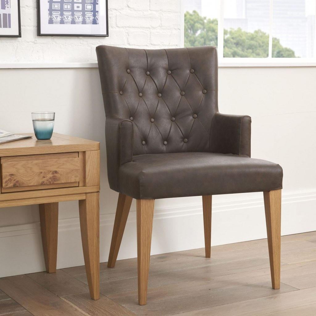 High Park Brown Distressed Leather Dining Chair With Arms Pair