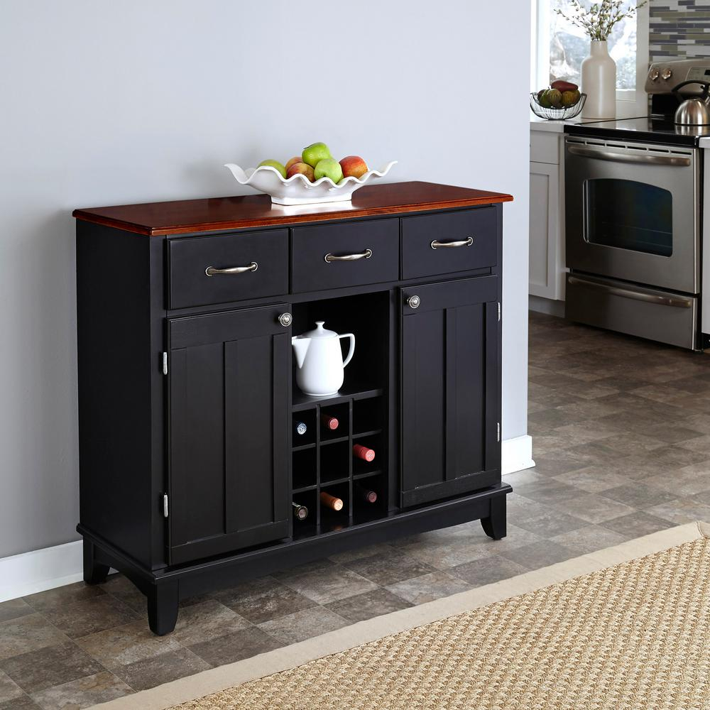 Home Styles Black And Cherry Buffet With Wine Storage 5100 0042