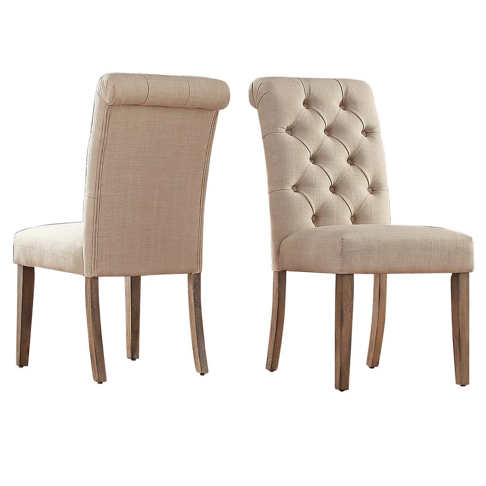 Homesullivan Huntington Beige Linen Button Tufted Dining Chair Set