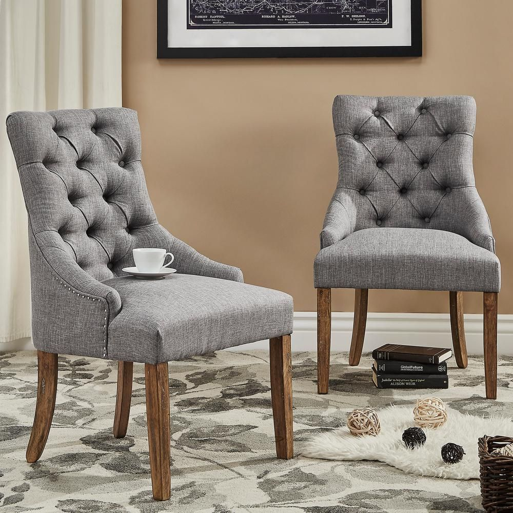 Homesullivan Marjorie Grey Linen Button Tufted Dining Chair Set Of