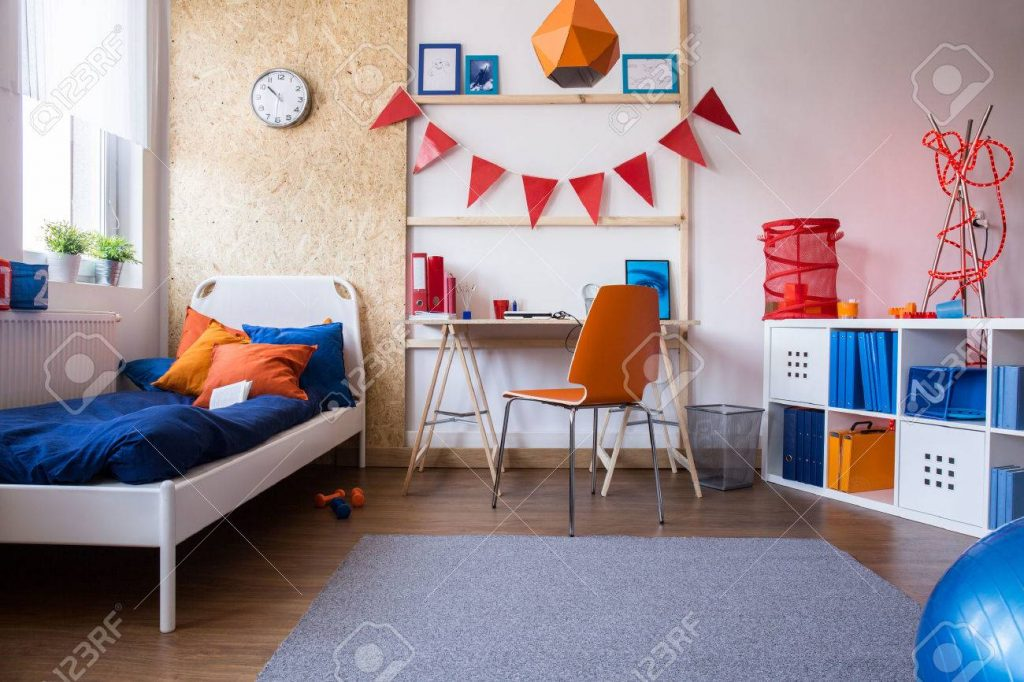 Horizontal View Of Modern Teen Boy Bedroom Stock Photo Picture And