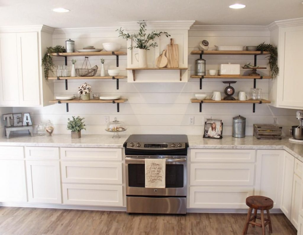 I Love This Farmhouse Kitchen With The Open Shelving And Ship Lap