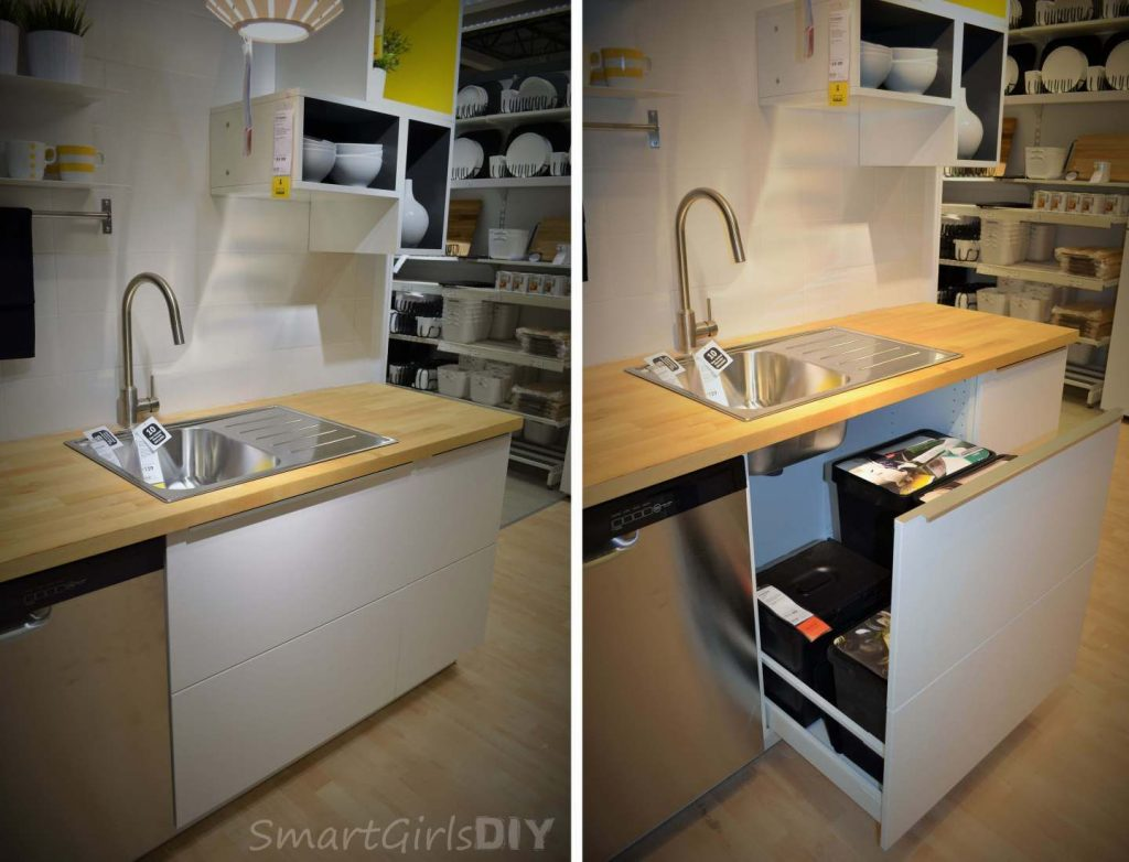 Ikea Sektion Sink Base Cabinet 3 Under The Sink Pull Out Disguised