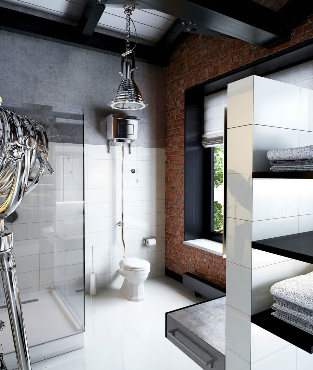 Industrial Masculine Bathroom With Walk In Shower And Brick Half