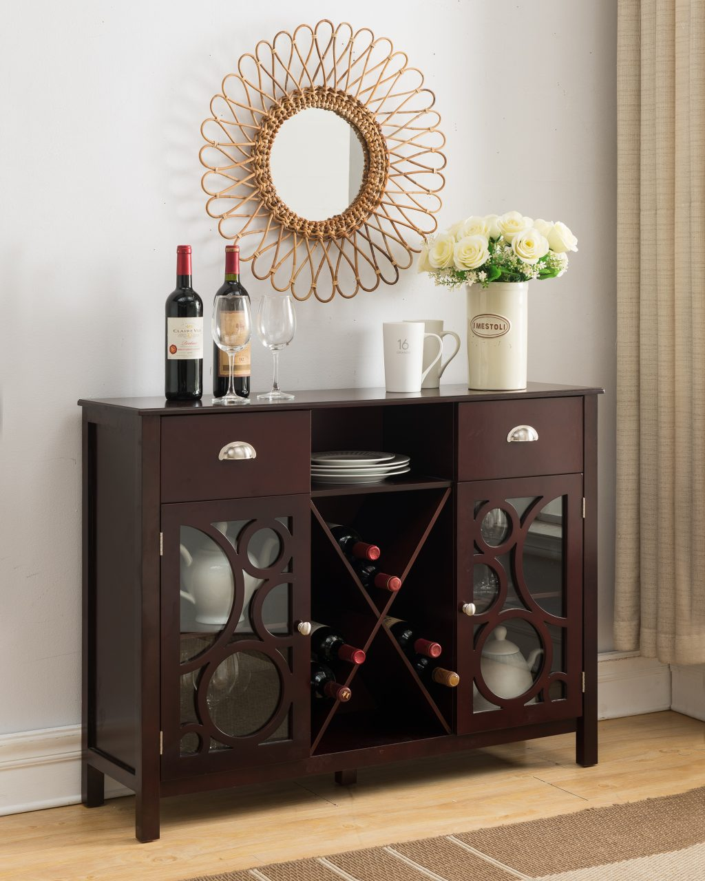 Kings Brand Jamestown Wood Buffet Server Storage Sideboard Wine