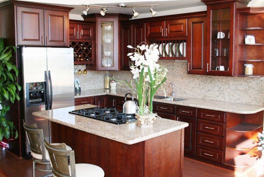 Kitchen Dark Cherry Cabinet Doors Cherry Red Kitchen Cupboards Light