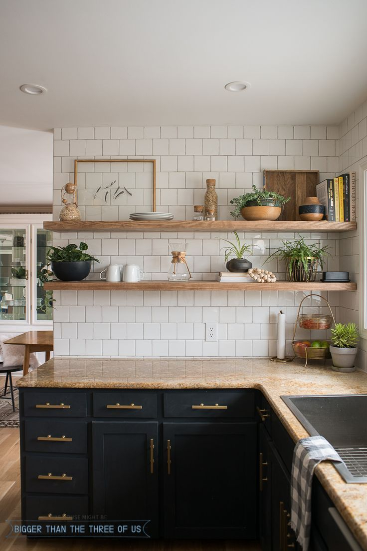 Kitchen Reveal With Dark Cabinets And Open Shelving Kitchens