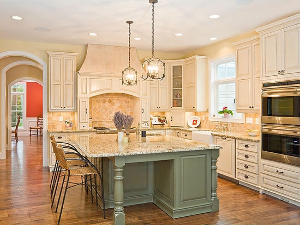 Kitchens With White Cabinets And Gray Island Sage Green Bright