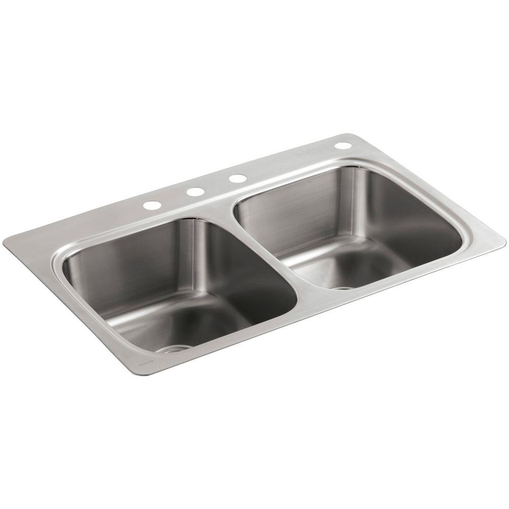 Kohler Verse Drop In Stainless Steel 33 In 4 Hole Double Bowl