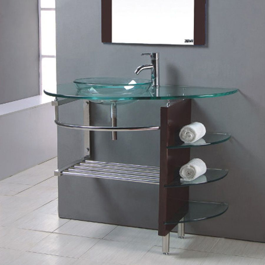Kokols Usa Clear Single Vessel Sink Bathroom Vanity With Tempered