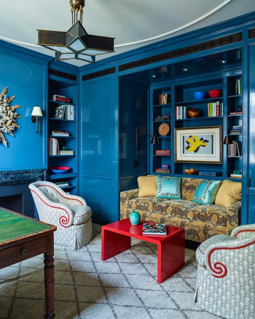 Lacquered Walls Rich Fabrics And Bold Color Make This Library A