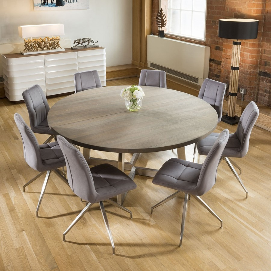 Large Round 18 Grey Oak Dining Table 8 Grey Velvet Swivel Chairs