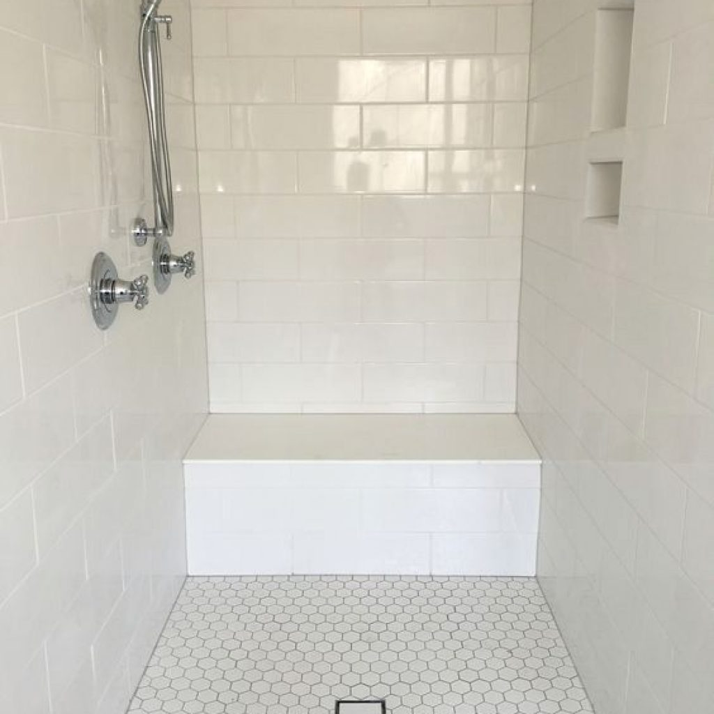 Large White Subway Tile Shower Surround With Hexagon Floor Tile
