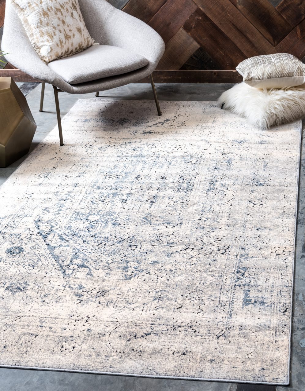 Laurel Foundry Modern Farmhouse Abbeville Graynavy Blue Area Rug