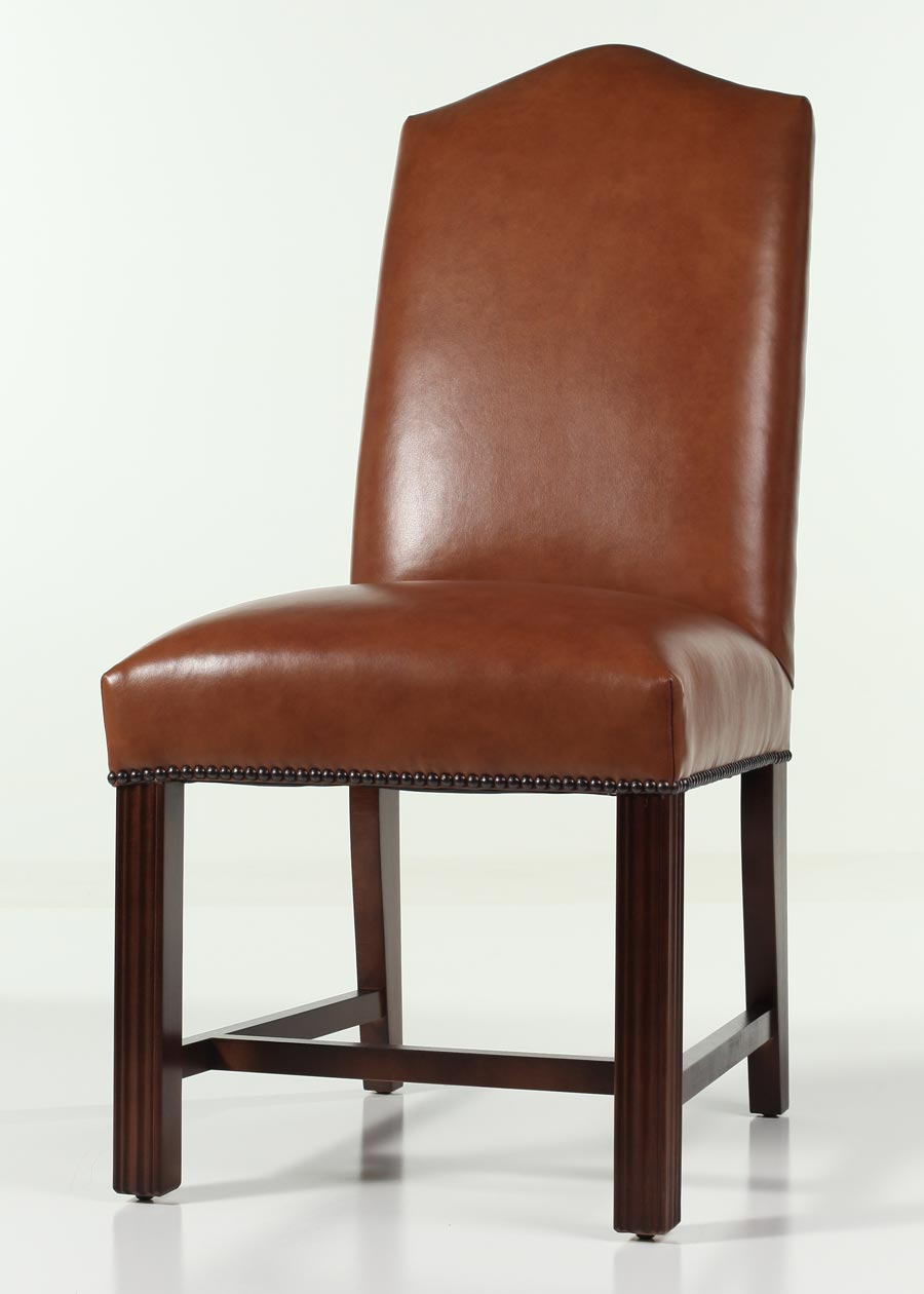 Leather Camel Back Chippendale Dining Chair With Nailhead Trim