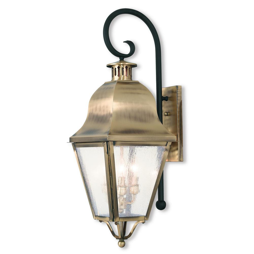 Livex Lighting Amwell 3 Light Antique Brass Outdoor Wall Mount