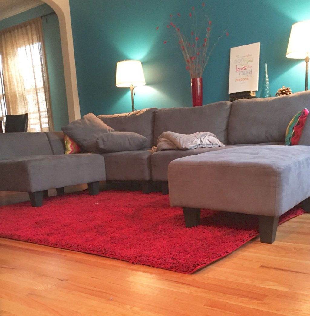 Living Room Idea Teal Blue Wall Grey Couch Ru Red Rug Living