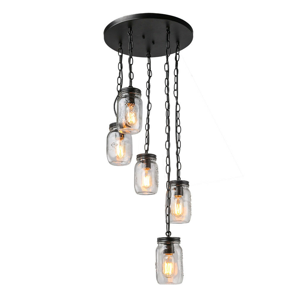 Lnc 5 Chandelier Spiral Glass Jar Ceiling Linear Kitchen Island