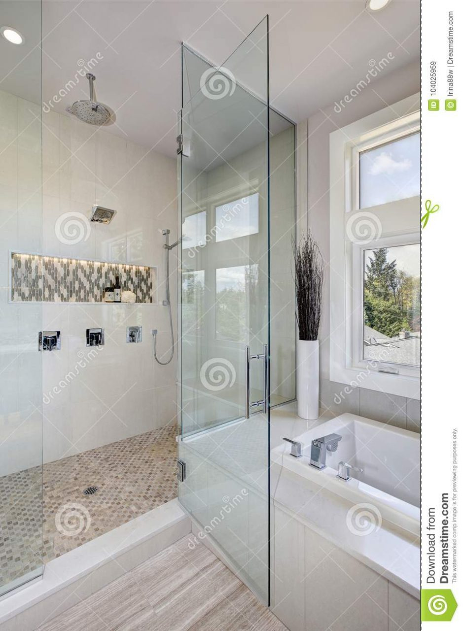 Luxury Bathroom Interior With Large Walk In Shower Stock Image