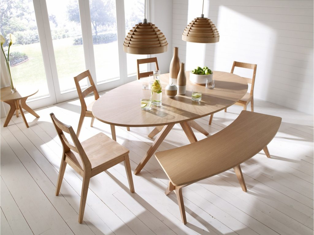Malmo Dining Table Set Chairs Bench Oak Veneer Solid Wood