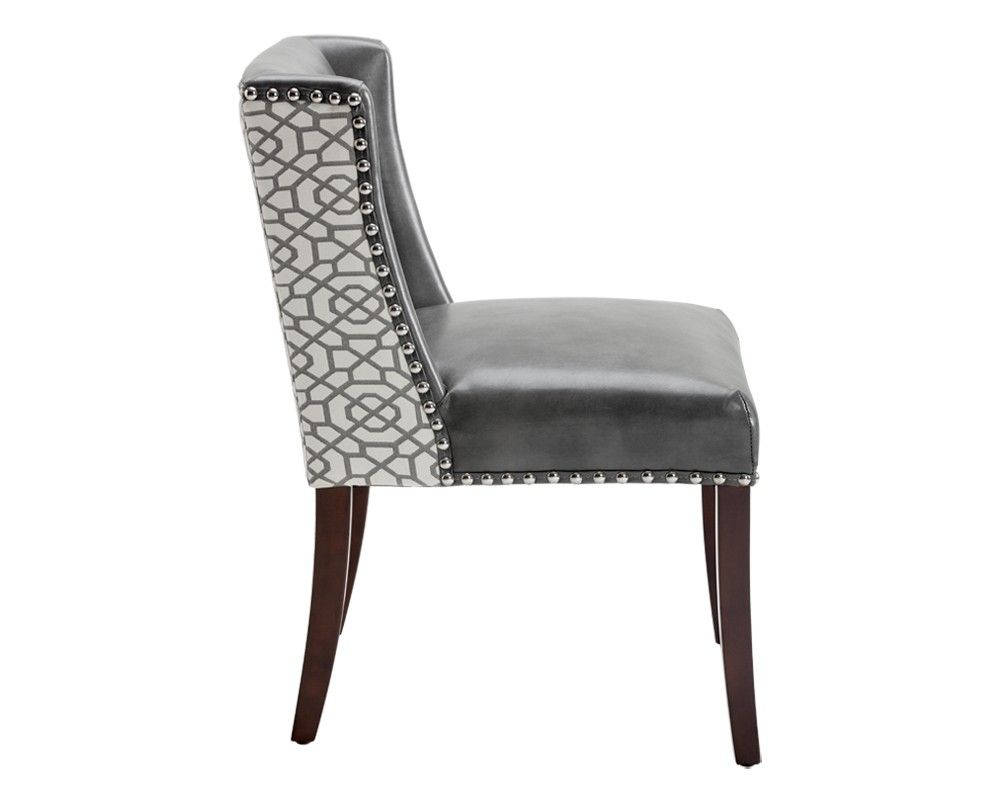 Marlin Dining Chair Grey Leather Diamond Fabric Kitchen