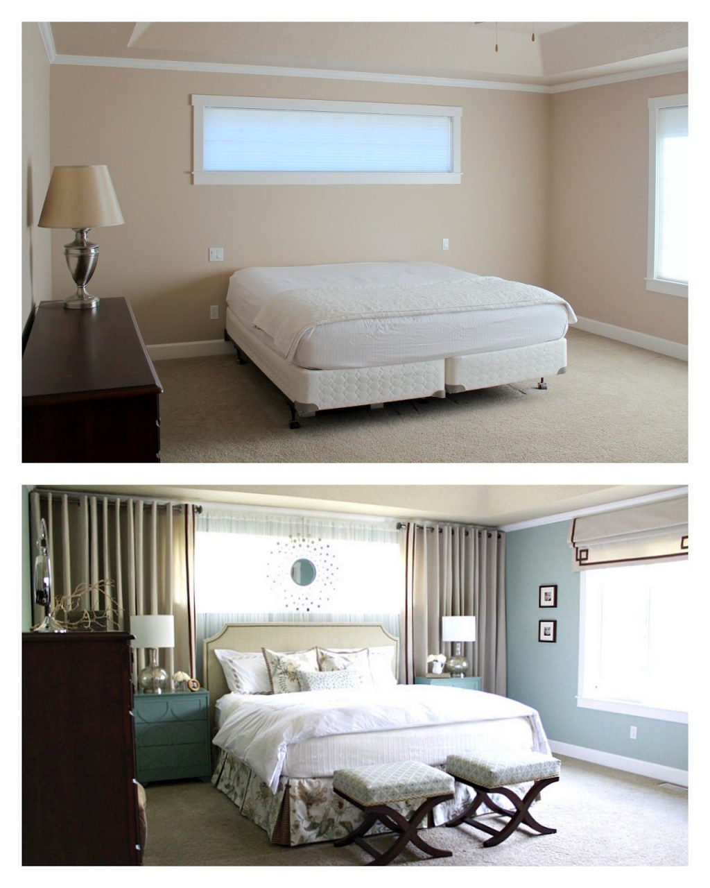 Master Bedroom Reveal Curtains Around Bed Mirrors Above Long