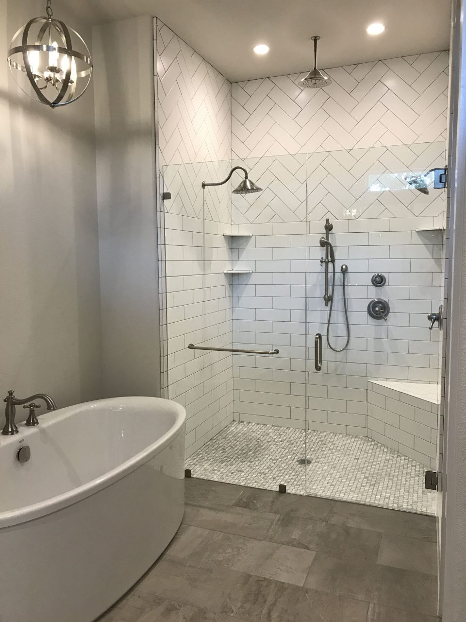Master Shower Herringbone Subway Modern Farmhouse Gray Tile