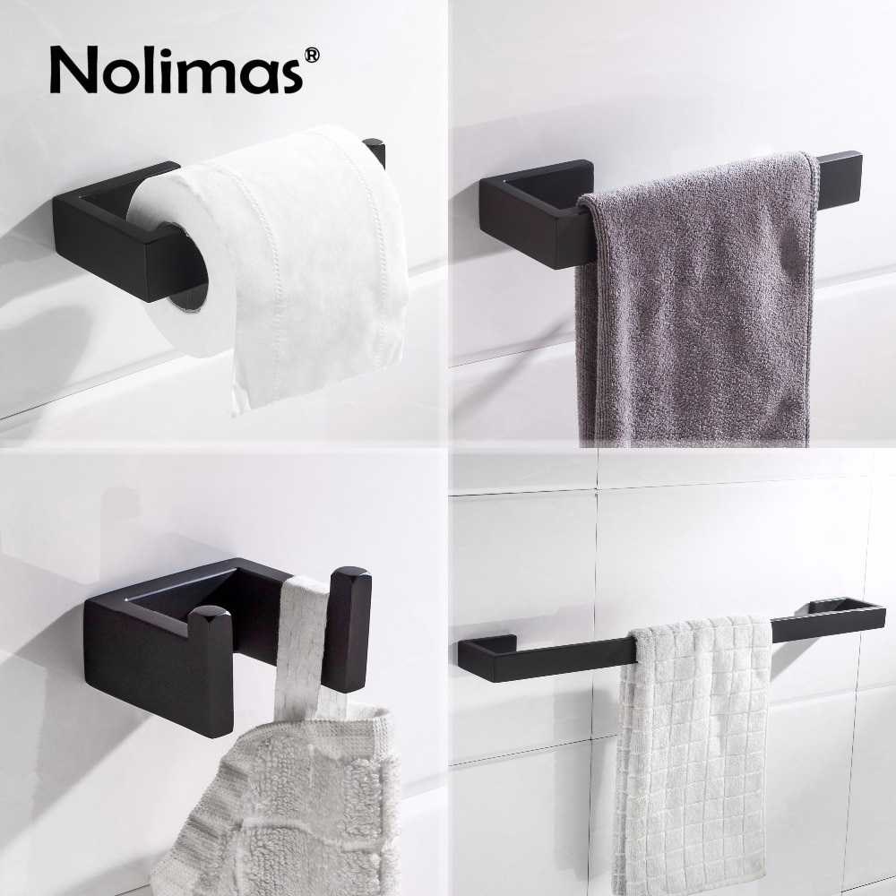 Matte Black Sus 304 Stainless Steel Bathroom Hardware Set Robe Hook